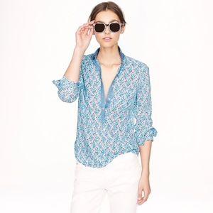 J. Crew Blue Orange Block-print Popover Shirt 4